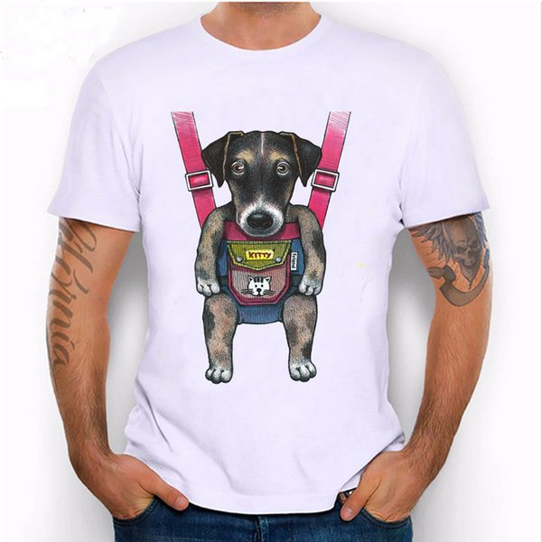 new Spring summer fashion Men's t-shirt Funny Strap Dog print T-Shirt pug Abs casual Tees man tops Hipster cool male tshirs