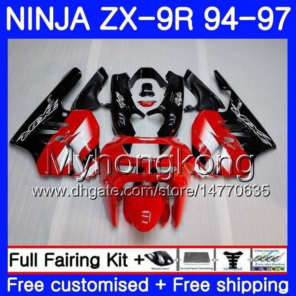 Cuerpo para KAWASAKI NINJA ZX900 ZX9R 94 95 96 97 221HM.0 ZX 9R 94 97 ZX 9 R 900 900CC ZX-9R 1994 1995 1996 1997 Kit de carenado Fábrica rojo blanco
