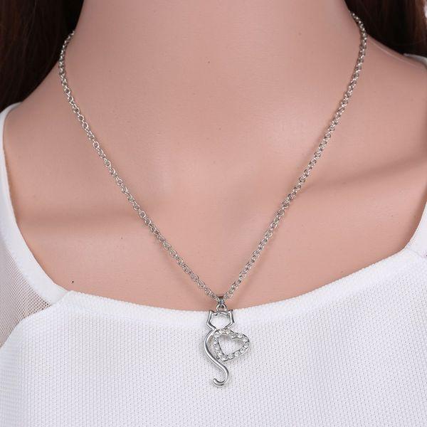 Laamei Women Colar Trendy Alloy Metal Choker Necklace Cute Hollow Heart Cat Crystals Necklaces Women Animal Pendant Necklaces