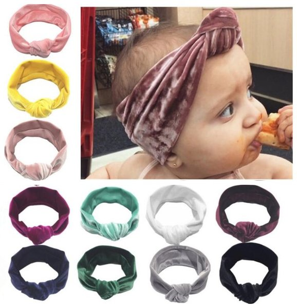 Baby Girl Velvet knot Headbands Girls Velvet elastic Hair band Accessories Kids headwear Photo Props 11 colors
