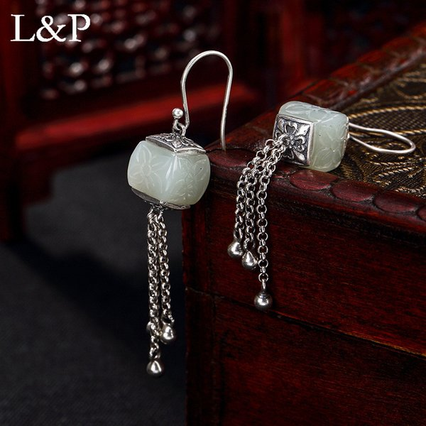 L&P Vintage Natural Jade Tassels Earrings For Lady Authentic 925 Sterling Silver Elegant Earrings Fine Jewelry Wholesale