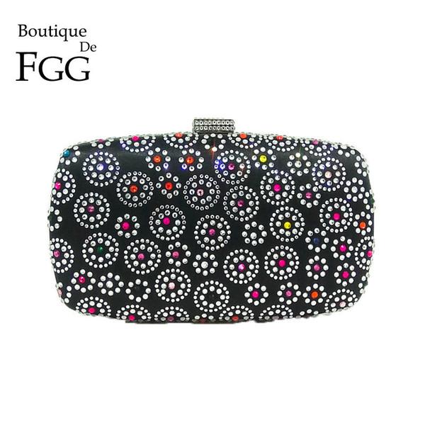 Boutique De FGG Hot Fixed Strass Frauen Schwarz Blume Abendtasche Mode Handtaschen Geldbörsen Dame Hochzeit Braut Kristall Clutch