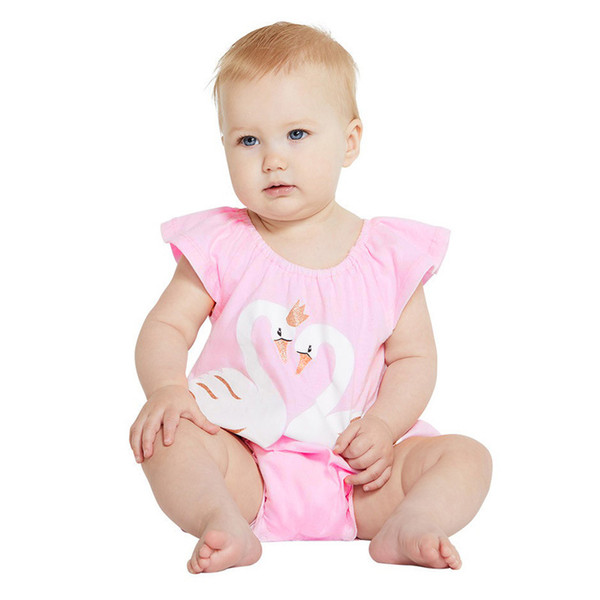 Toddler Baby Kids Girls Vestiti Cartoon Swan Printed Romper Jumpsuit Pagliaccetto senza maniche rosa per ragazze carine
