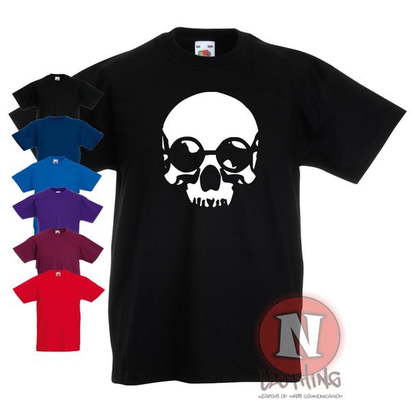 Crânio com óculos Childrens Crianças t-shirt 3-13 anos cool design100% algodão tee camisetas atacado tee