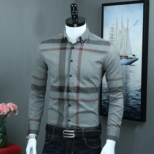 Men's Smart Casual 100% Cotton Plaid Button Down Dress Shirt Fashionable Elegance Long Sleeve Comfortable Fabric Slim-fit Shirts