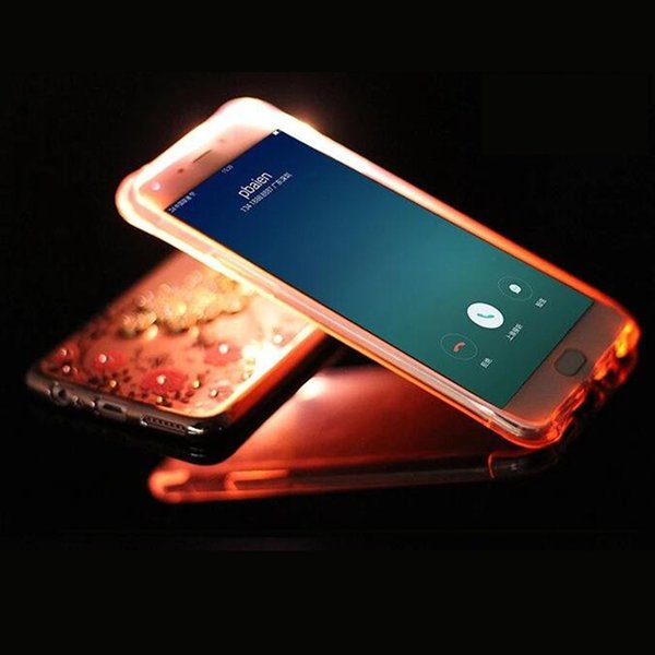 For Redmi Note 2 Shockproof Soft Rear Cover Case TPU Frame Flash Up Light Incoming Call LED Phone Case