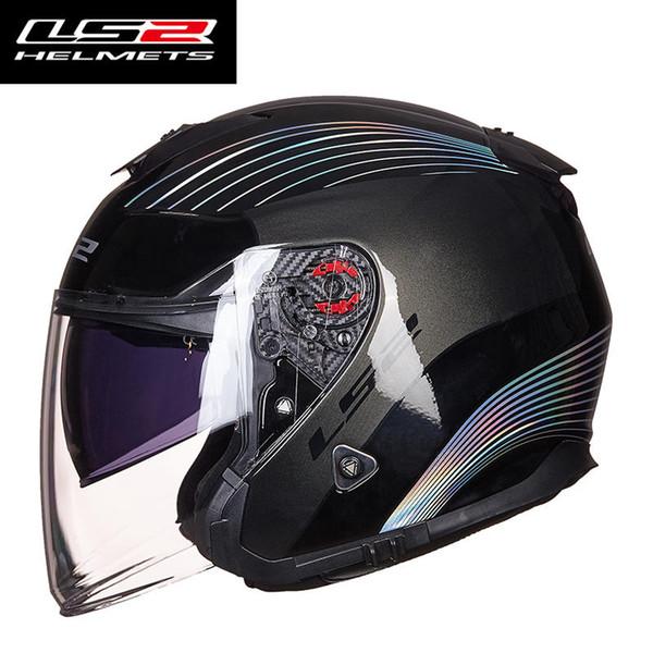 Original LS2 OF521 fiber glass open face women men motorcycle helmet dual lens motorbike half helmets capacete casco moto