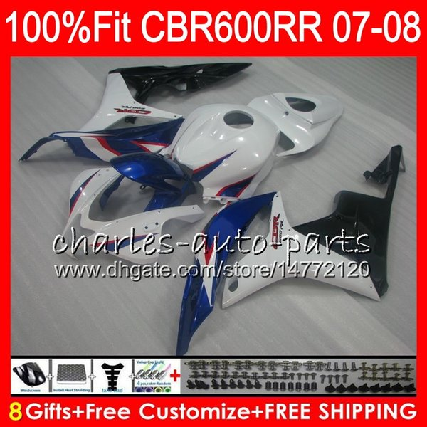 Injection For HONDA CBR 600RR CBR600RR CBR600 F5 07 08 44HM.73 CBR600F5 CBR 600 RR CBR 600F5 07 08 hot sale blue CBR600 RR 2007 2008 Fairing