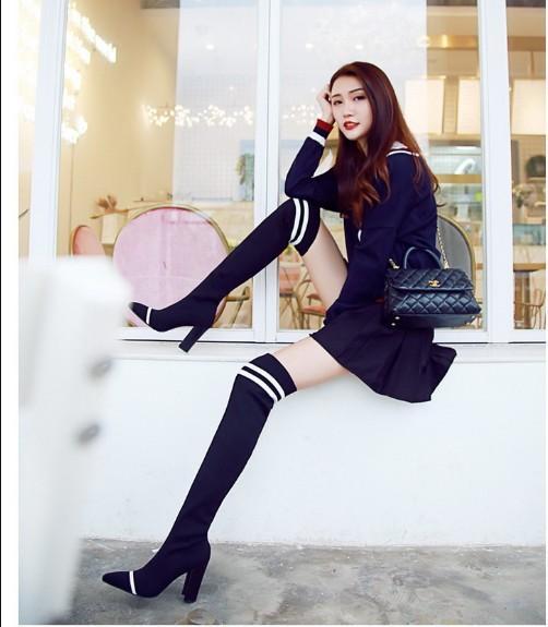 grosero talón negro color beige tamaño 34-40 moda delgado dedo del pie puntiagudo sexy sobre botas de rodilla botas largas de mujer 588