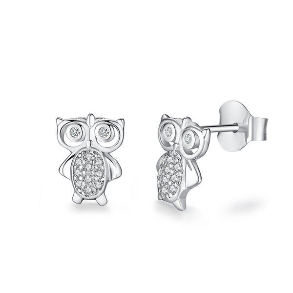 For Women And Children 2018 Fashion Lovely Owl Stud Earrings With CZ Animal Earrings 925 Sterling Silver Earrings Summer Jewelry