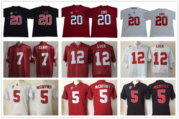 reputable site fa47a ba001 2019 College Stanford Cardinals Jersey 20 Bryce Love 5 Christian McCaffrey  7 John Elway 12 Andrew Luck Jersey Home Away White Red Black From ...