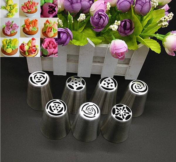 7pcs Pastry Nozzles And Coupler Icing Piping Tips Sets Stainless Steel Rose Cream Bakeware Cupcake Cake Decorating