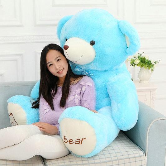 Cartoon cushion blue/pink/brown 60-120cm Cute colorized bear plush toys teddy bear doll stuffed plush animals pillow toy