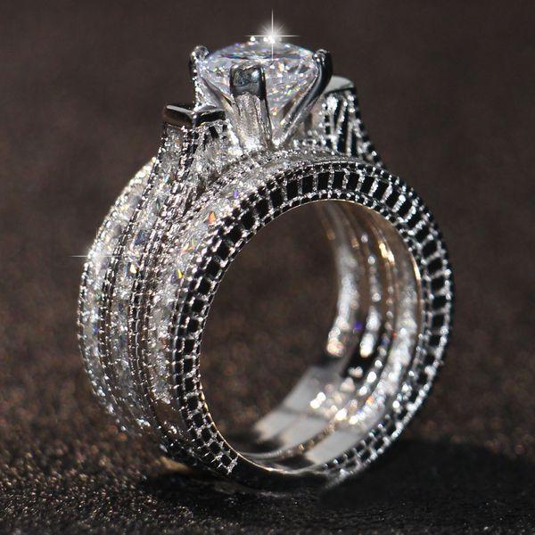14k White Gold Silver Round CZ Vintage Women/'s Wedding Engagement Set sz 5-10