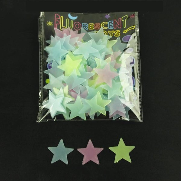 3 Colors 100pcs/lot 3D Fluorescent Light Star Stereo Wall Sticker Toys For Children Creative Educational Toys Art Kids Toy CCA10132 60set