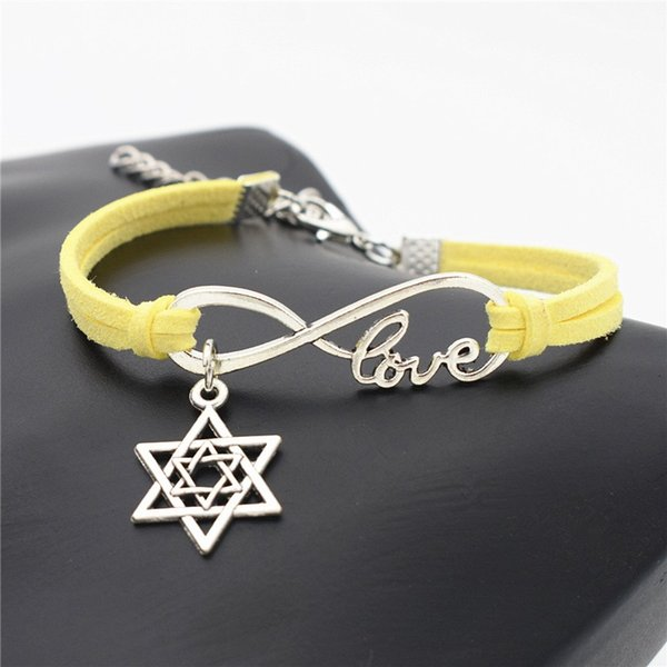 Boho Infinity Love Star of David Pendant Bracelet For Women Men New Design Fashion Yellow Leather Suede Rope Statement Bohemian Jewelry Gift