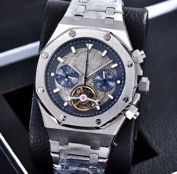 Luxury AAA Top Quality 4 color Stainless steel bracelet Tourbillon Automatic Movement Mens Watch transparent Back Men's Wrist Watches