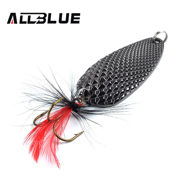 Fishing Lure AllBlue Spoon Bait 24g 6cm Artificial Lures Spinner Lure Metal Bait Fishing Tackle Armed With Feather Hook Y18100906