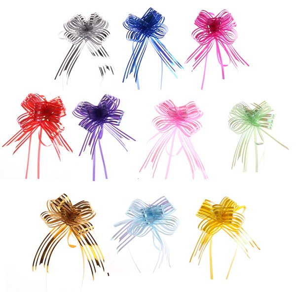 10pcs Organza DIY Wedding Organza Yarn Pull Bows Ribbons Wedding Party Flower Decor Gift Wraps Party Decor Flower Garland