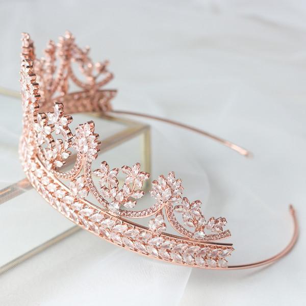Fashionable Tiaras for Brides Bridal Crowns Wedding Tiaras Rose Gold Wedding Hair Jewelry Zircon Crystals Tiara