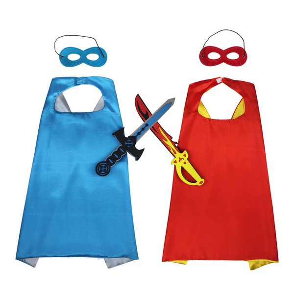 Kids hero cape props 3pc set felt eye mask+satin double layers cape+41cm EVA soft swords Boys Hero Cosplay costume cosplay party performance