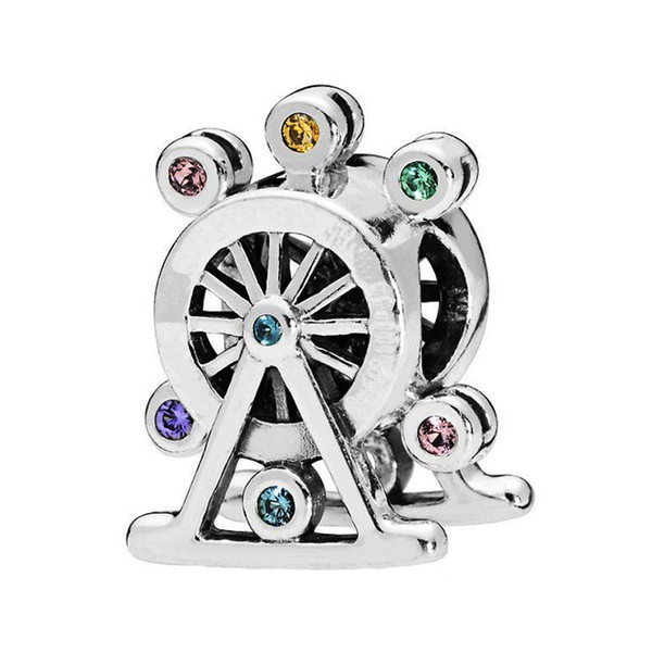 Authentic 925 Sterling Silver Bead Colorful CZ Crystal Ferris Wheel Charm Fit Original Bracelets DIY Charms Jewelry