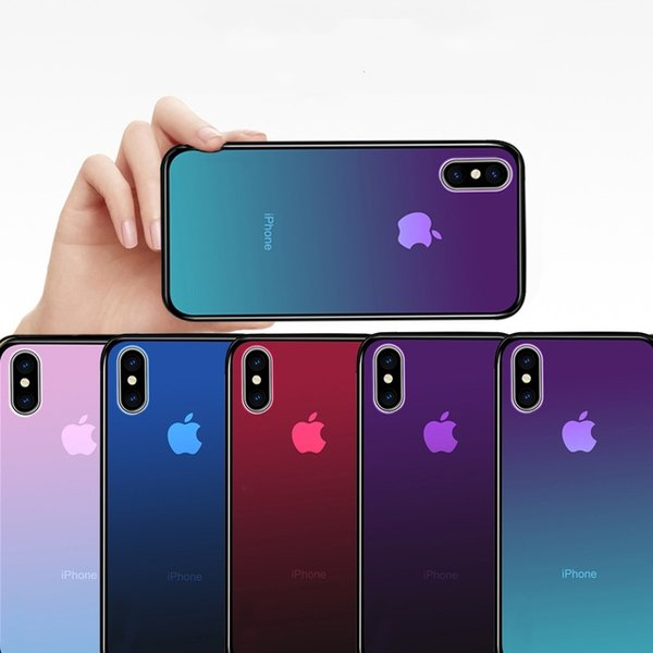 Fundas para teléfonos móviles para Iphone 8 plus 7 6S 6 más Iphone X SEMIPERMEABLE GLASS SHELL GRADIENT Accesorios para teléfonos móviles