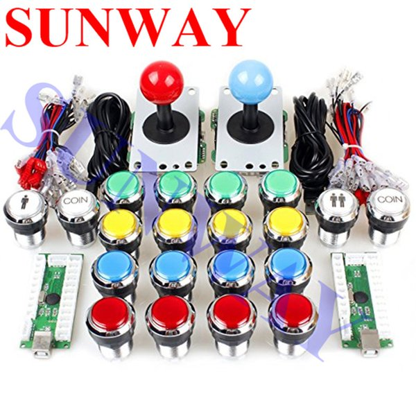 2 Player Classic Arcade Contest DIY Kits USB Encoder PC Joystick 8 Ways Sticker Chrome LED Illuminated Push Button Arcade Mame
