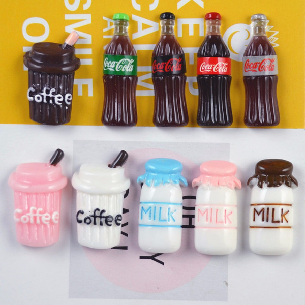 10 Piece Cartoon Kids Kawaii Small Coffee Cup Cola Milk Bottles Shape Fridge Magnets Souvenir Magnetic Sticker