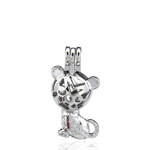 10 pçs / lote liga de prata linda animal cat beleza ostras grânulos gaiola pingente aromaterapia perfume óleos essenciais difusor