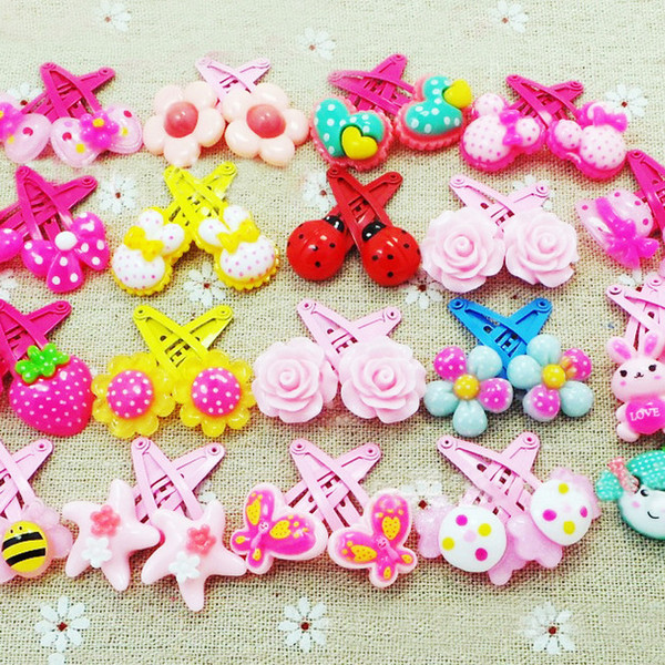 50pcs/lot baby jewelry infant cartoon pattern butterfly girls hairpins flower shaped kids hair clip girls lovely hairpins