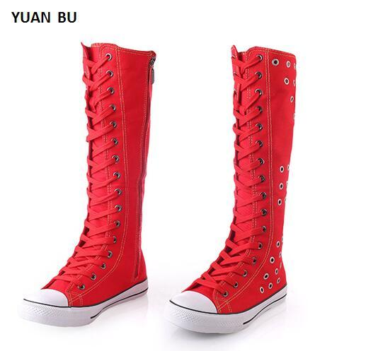Genuine Women Boots Knee-High Cheerleaders Dance Shoes Side Zip Canvas Sweat-Absorbant Cross-tied Air Hole Hollow Big size