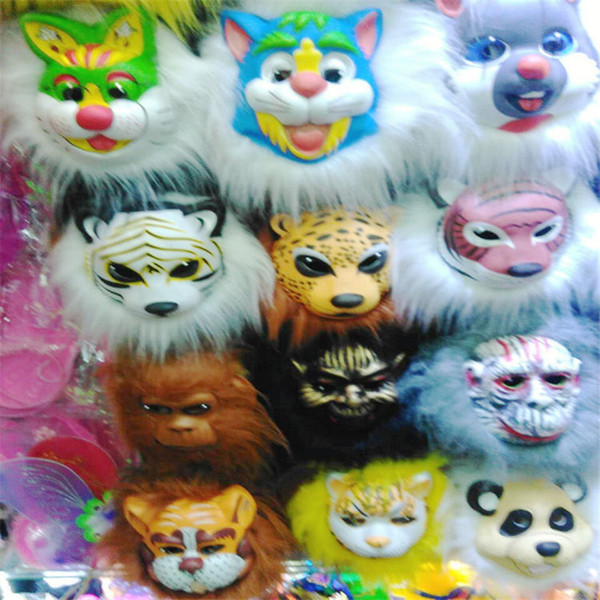 plush animal masks lion leopard Fox dog children EVA mask halloween costumes Halloween mask toy best gift for Kids halloween Xmas Party 28 C