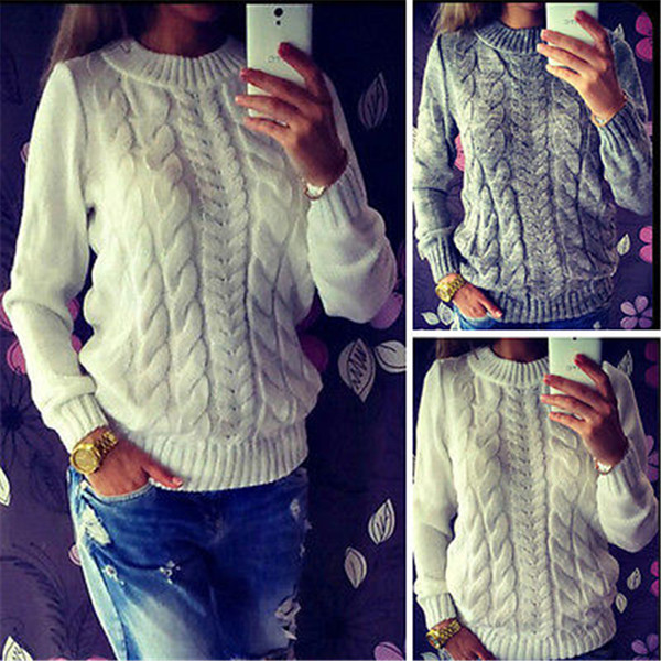 UK STOCK 2017 Modern Womens Casual Jumper Crew Neck Long Sleeve Pullover Knitted Sweater