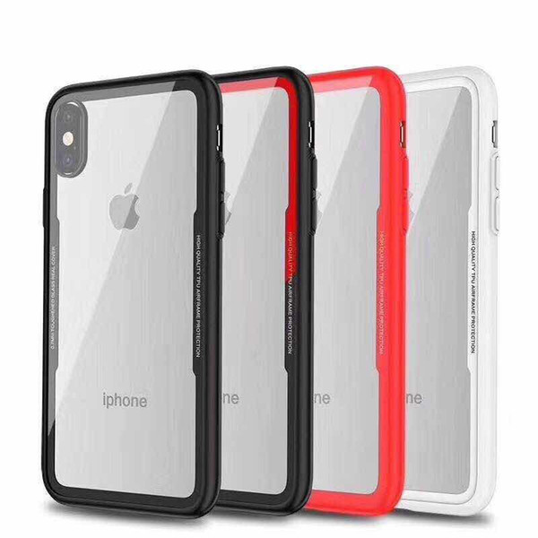 Soft TPU Frame Hard Plastic Back Cover Clear Phone Case For iPhone X Xr Xs Max 8 7 6S Plus Samsung S8 S9 Plus Note 9 8 Cradle Design Cases