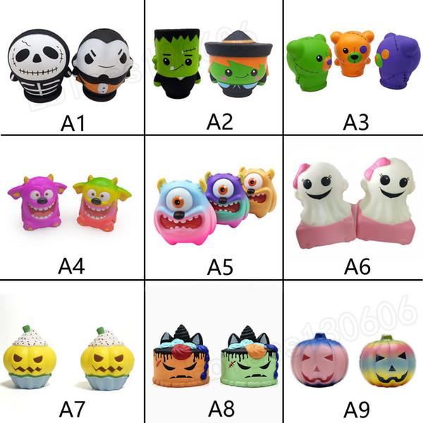 Acheter Kawaii Squishy Toys Citrouille Monstres Gâteau Fantôme Crâne Homme Lent Rebond Squishies Jumbo Pressé Décompression Jouets Halloween Cadeaux