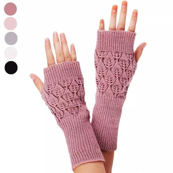 Guantes de punto fino Mitt Exposed Finger Guantes de invierno Otoño de punto para mujeres Guantes sin dedos Muñecas Mitones MMA1100