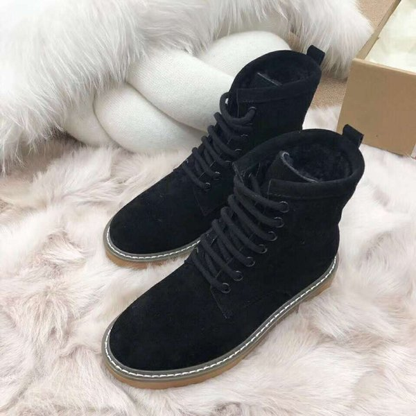 Mulheres Inverno Quente Casual Faux Suede Fur Lace-up Ankle Boots botas de neve mulheres Moda