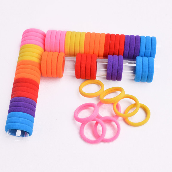 66Pcs/Pack Elastic Hair Rope Rubber Bands Candy Color Kids Hair Band Girl Accessories Kids Gift