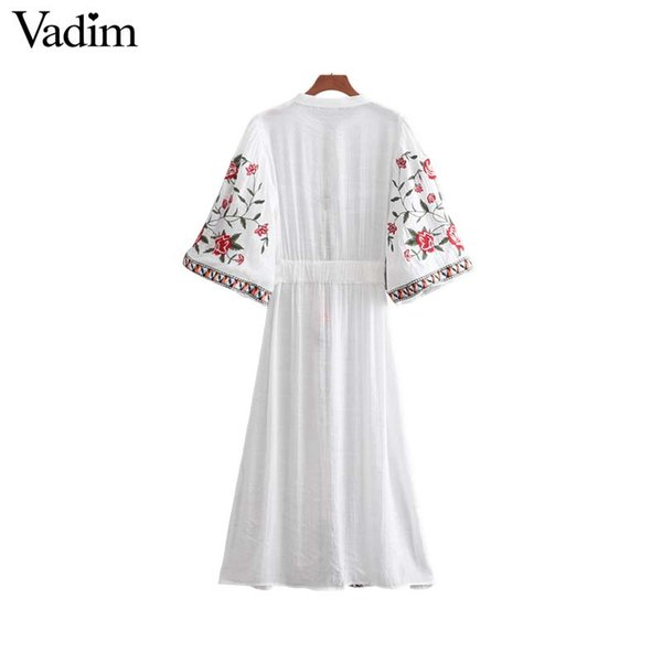 Compre Vadim Mujeres Bordado Floral Midi Vestido Fajín Corbata Tres ...