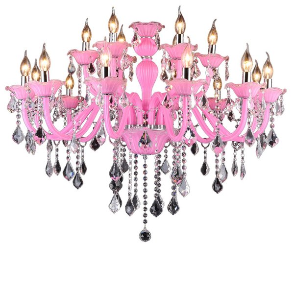 Fancy Purple Color and Crystal Material modern crystal chandelier Lighting with Lampshades Candle Chandeliers Girls room Decor
