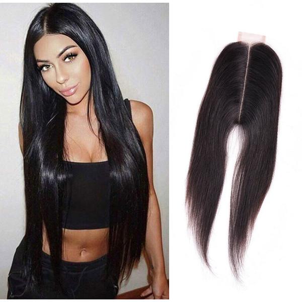 Chiusura a lacci in seta 2X6 con chiusura a laccio in pizzo con 2 capelli per capelli 2 * 6 Chiusura con lacci in capelli Parte centrale
