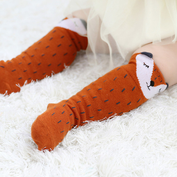 New Style Baby Girl Socks Cute Squirrel Cartoon Baby Boy Sock Cotton Infant Knee High Socks Leg Warmer Kids Socks Long Tube Booties Sokken