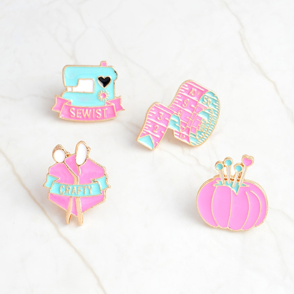 Cartoon pins tape measure Sewing machine crafty scissors clew Brooch Denim Jacket Pin Badge Fashion Jewelry gift for friends
