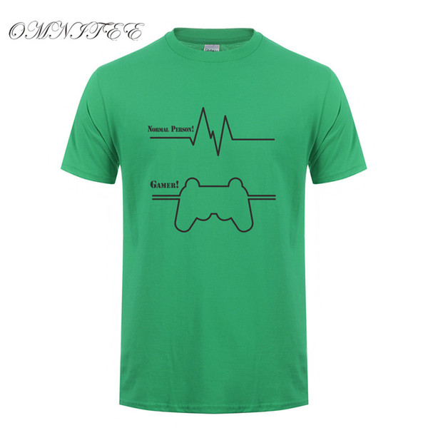 Omnitee Funny Gamer Heartbeat T Shirts Men Cardiogram Cotton T Shirts Short Sleeve Men Funny Game T-shirt Tee Tops OT-597