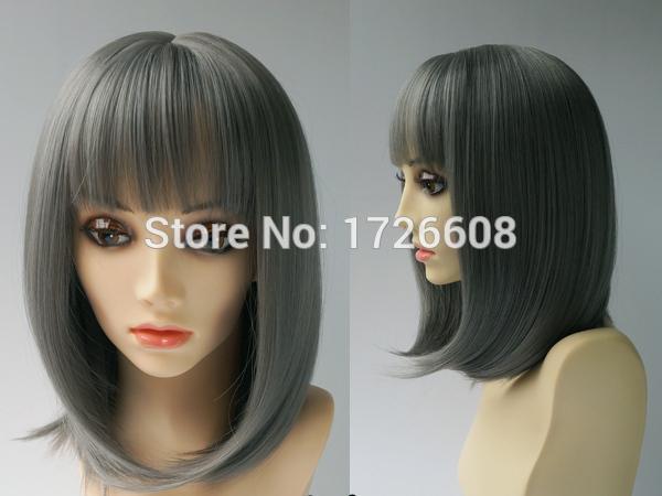 Kostenloser Versand mittellange synthetische kurze Bob gerade Haar Perücke COS Perücke hitzebeständige Perücken graue Farbe