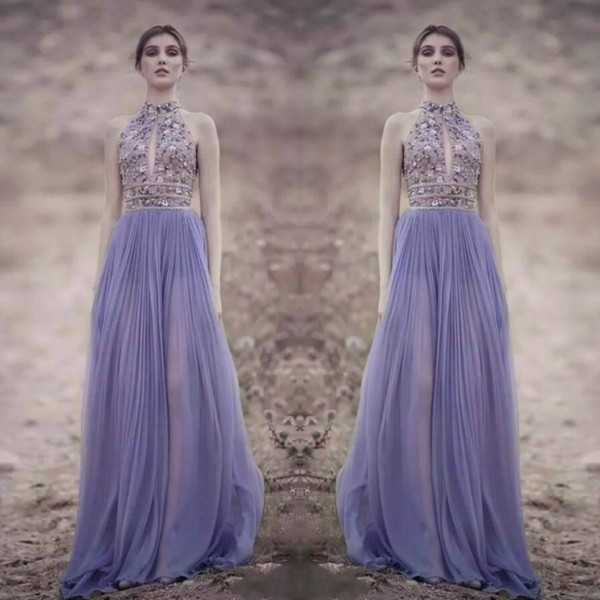 Rami Kadi 2018 Lavanda vestidos de baile Halter Keyhole cuello bordado con cuentas vestidos de noche Sexy Illusion vestidos por encargo