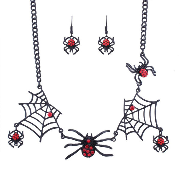 cobweb Spider Earrings Necklace Halloween series jewelry set Creative new personality animal accessories free shipping