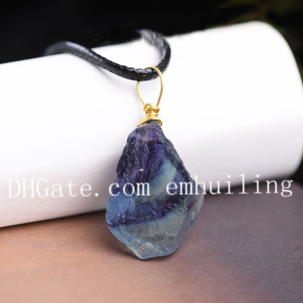 10Pcs 20mm-35mm Freeform Random Color Blue Green Purple Natural Raw Fluorite Necklace Brass Wire Wrapped Cap Colorful Rough Crystal Necklace