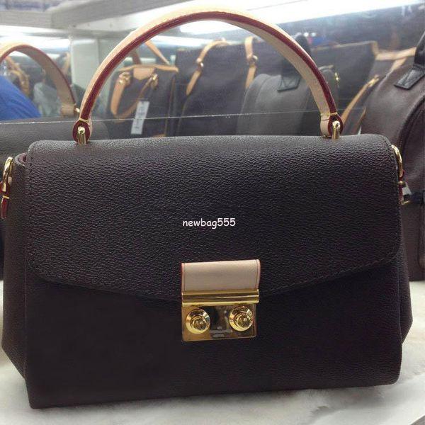 Freies Verschiffen 25cm Frauen Marke echtes Leder Handtasche Croisette N41581 n53000 abnehmbare Quaste Umhängetasche Umhängetaschen Einkaufstaschen
